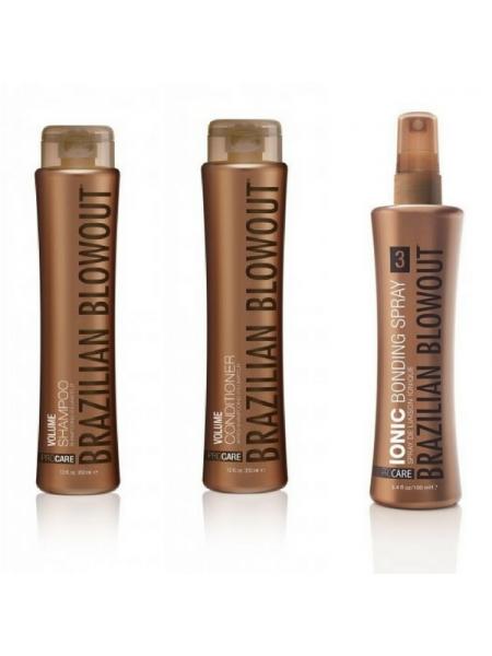 Набір Brazilian Blowout Volume для домашнього догляду за волоссям (шампунь + кондиціонер + бондинг-спрей)