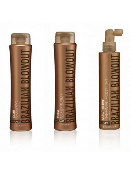 Набір Brazilian Blowout Volume для об'єму волосся (шампунь + кондиціонер + спрей)