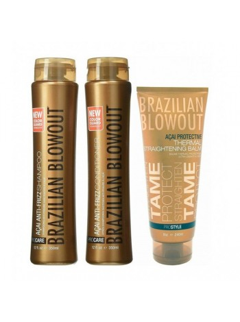 Набір Brazilian Blowout Anti-Frizz для домашнього догляду за волоссям (шампунь + кондиціонер + термобальзам)