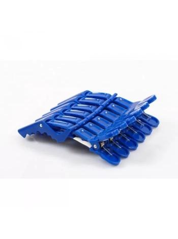 Затискач-крокодил для волосся пластиковий синій / червоний (упаковка 6 шт)
