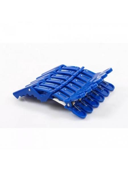 Зажим-крокодил для волос пластиковый синий / красный (упаковка 6 шт)