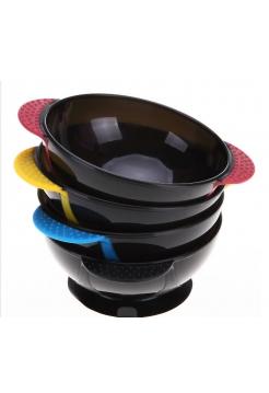 Миска для краски для волос, кератина пластиковая круглая прорезиненная на присоске
